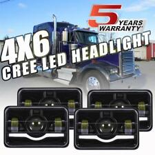 "4X DOT 4x6"" in CREE LED Headlights Halo DRL for Peterbilt Kenworth Freightliner"