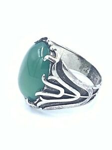 Natural Green Agate Stone Handmade Sterling Silver 925 Men's Ring Size 9.5