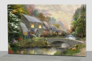 LED Lighted Riverside Houses Canvas Wall Home Décor Picture Art  40 x 60cm
