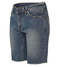 Cotton Blend Patternless Denim Slim Shorts for Men