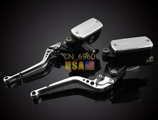 Silver Clutch Brake Levers Master Cylinder Reservoir For Suzuki SV1000/S 2003-10