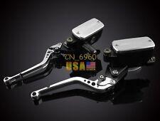 Silver Clutch Brake Levers Master Cylinder Reservoir For Suzuki SV1000/S 2003-10