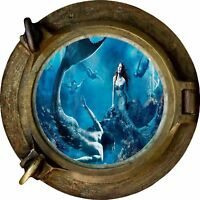 Huge 3D Porthole Fantasy Mermaids under Sea View Wall Stickers Mural Decal 490