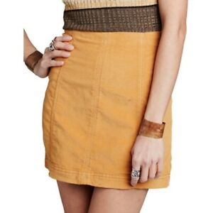 Free People Corduroy Mini Skirt Gold Size 2 Urban Outfitters XS New With Tags