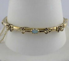 LADIES 14K YELLOW GOLD OPAL HARD BANGLE FLORAL FINE JEWELRY BRACELET 6 7/8""