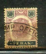 "FMS Malaya Malaysia Perak 1895-99 Old ""Tiger"" Stamps 50c greenish black CV Rm120"