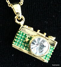 """Austrian Crystal Green Gold Camera Necklace Adjustable 18"""" Chain Photographer"""