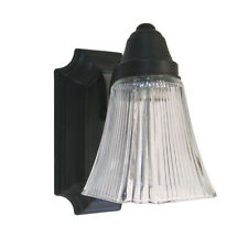 OIL RUBBED BRONZE AND CLEAR RIBBED GLASS WALL SCONCE LIGHT FIXTURE