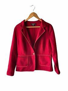 Talbots Size 16P Petite Red Wool Blend Felt Satin Trim Blazer Jacket