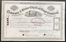 DUBUQUE & SIOUX CITY RAIL ROAD CO. Stock 1875. Iowa. Pres. Morris K. Jessup SIG