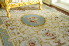 """8"""" Larger Beautiful Floral Classic French Swirls Beige Blue Dollhouse Rug"""