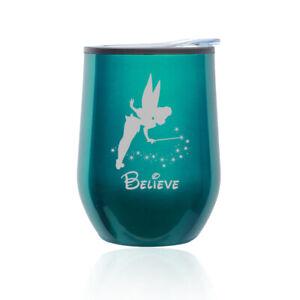 Stemless Wine Tumbler Coffee Travel Mug Glass Cup w/ Lid Fairy Believe