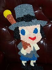 VINTAGE MELTED PLASTIC POPCORN WALL DECOR, PILGRIM BOY