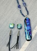 Handmade Necklace and Earring Set Dichroic Glass Lapis and Leather