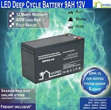 9ah AGM Battery Deep Cycle 12v Ideal for Camping Caravans RVS Buses Etc EC