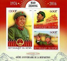 Benin 2016 MNH Mao Zedong Tsetung 40th Memorial 3v M/S World Leaders Stamps