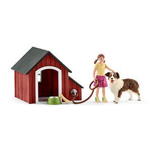 Schleich 42376 Dog Kennel with Girl & Australian Shepherd Figures (Farm Life)