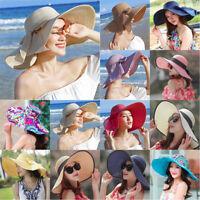 Women Brim Straw Hat Sun Floppy Wide Brim Hats Bowknot Folding Beach Caps LY