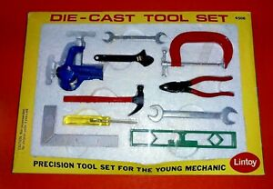 VINTAGE LINTOY DIE-CAST TOOL SET ~ 'PRECISION TOOL SET FOR THE YOUNG MECHANIC'