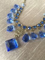 Vintage Sapphire Blue Glass Crystal Briolette Droplets Rhinestone Bib Necklace