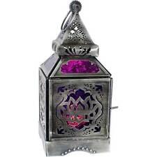 Lotus Flower Glass Purple Moroccan Lantern Candle Holder Metal Hanging Decor