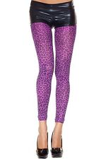 Purple Opaque Leopard Print Footless Tights Sexy Designer Lingerie P35809