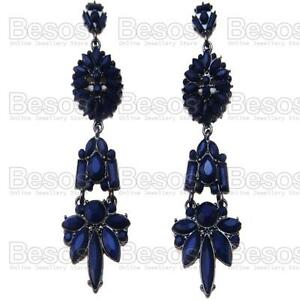 ORNATE long NAVY BLUE gothic CHANDELIER EARRINGS black VICTORIAN ANTIQUE STYLE