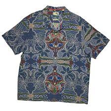 Tommy Bahama Mens 100% Silk Short Sleeve Button Down Shirt Size XL Blue