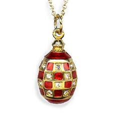 Faberge Inspired Red Checker Egg Pendant Gold Plated with Crystals & Chain
