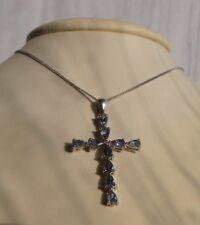 New 9ct white gold tanzanite and Diamond cross and18  inch white gold chain