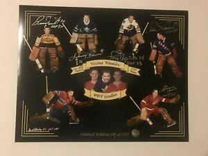 Vezina & Hall Fame Goalies 11 x 14 Print with 6 autographs (with COA)