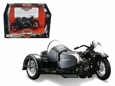 1948 Harley Davidson FL with Side Car Black Motorcycle Model 1/18 Diecast Model