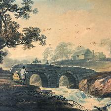 Original William Payne Hand Colored Drawing Antique Thaugh Bridge Devonshire UK