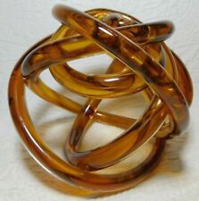 "5"" Torre & Tagus Amber Orbit Glass Infinity Knot Art Ball decor"