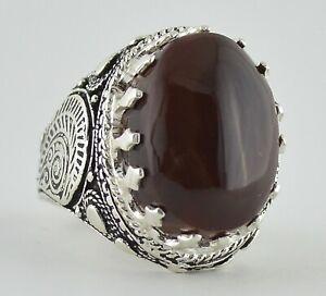 Yemeni Red Kabdi Aqeeq Akik Agate, Yemen Sterling Silver Men Islamic Aqiq Ring