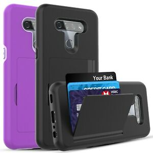 LG K51 Case, Wallet Card Holder Case + Tempered Glass Screen Protector