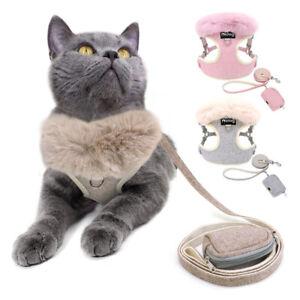 Fashion Fur Fluffy Dog Harness&Lead &Snack Bag Poo Bag Holder Pet Puppy Cat Vest
