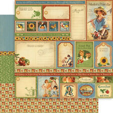 """Graphic 45 Place in Time Collection 12"""" Scrapbook Paper August Cut Aparts 5 pc"""