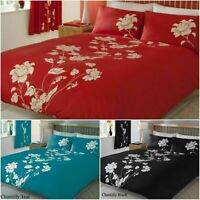Floral Duvet Cover With Pillowcase Single Double Super King Size Printed Bedding
