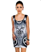 Too Fast Tarot Card Siamese Skeleton Black Trance Pentagram Bodycon Mini Dress