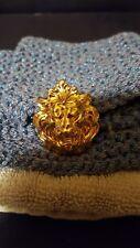 Vintage Lion Head Scarf Clip Goldtone