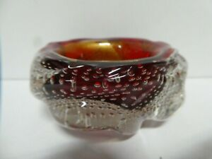 VINTAGE MURANO MID CENTURY RED ART GLASS BOWL GOLD FLAKE CASED AIR BUBBLES
