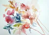 Original Aquarellbilder abstrakte Blumen Malerei moderne Kunst Lynovskaja
