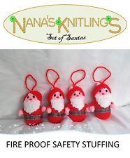 KNITTED SANTA CHRISTMAS TREE DECORATIONS XMAS ORNAMENTS HAND MADE SET OF 4