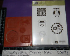 STAMPIN UP PUNCH BUNCH 5 CLING RUBBER STAMPS OWL TAG SCALLOP SQUARE CIRCLE