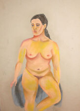 European pastel painting nude signed