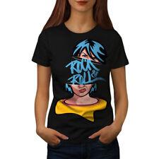 Wellcoda Rock & Roll Girl Music Womens T-shirt, Music Casual Design Printed Tee