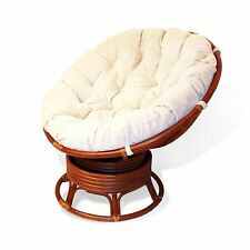 Papasan Lounge Rattan Wicker Chair EXTREMELY COMFY w/Cushion Cognac
