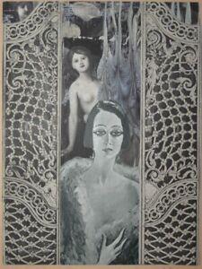 Triptychon Dekor Frauen Akt - A. E. - monogrammierte Collage - 1950