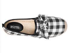 NIB Size 5 Michael Kors Willa Espadrille Black White Plaid Bow RARE
